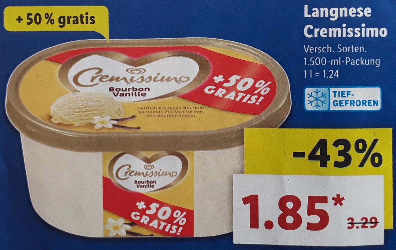 Langnese Cremissimo Vanille 1500ml (+50% Gratis) für nur 1,85 € @ Lidl ab 14.6.18