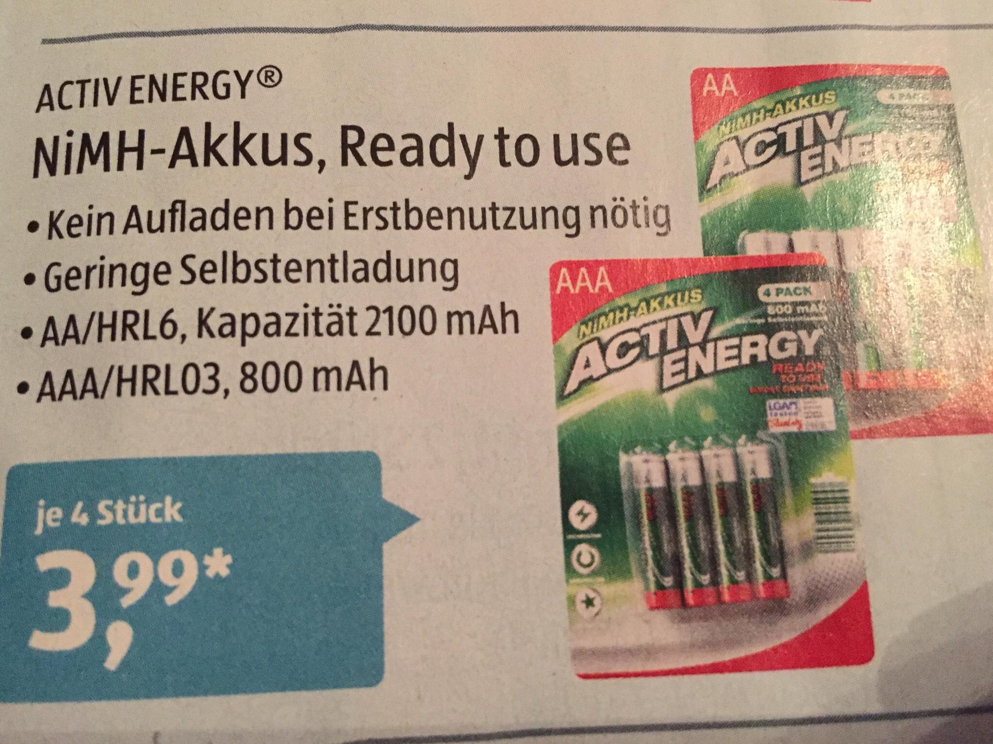 ( Aldi Süd ab 18.6 ) Activ Energy Nimh Akkus  AA/HRL6 2100mah AAA/Hrl03 mAh
