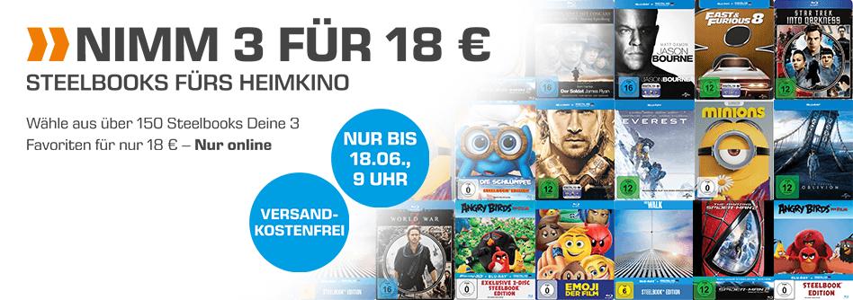 3 Blu-Ray Steelbooks für 18