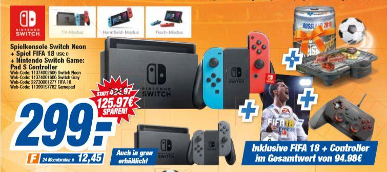 [HEM Expert Gruppe-Alle 9 Filialen ab 13.06]  Nintendo Switch Konsole + FIFA 18 + Snakebyte Nintendo Switch Game:Pad S + Elektrogrill + 5 L Fass Bier für 299,-€