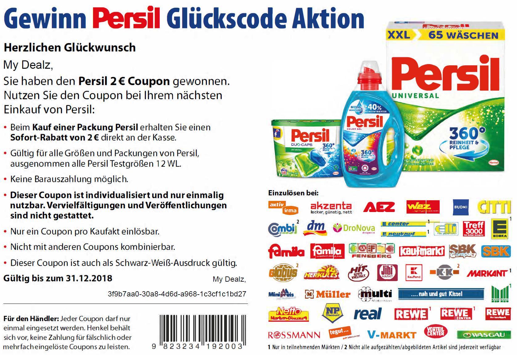 2,00€ Coupon für den Kauf von Persil (alle Sorten/Produkte/Größen außer 12WL) bis 31.12.2018