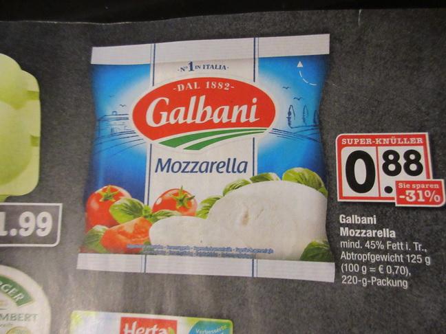 Marktkauf / Edeka - Galbani Mozzarella mit Coupon 2 x kaufen -  je eff 0,38 Euro