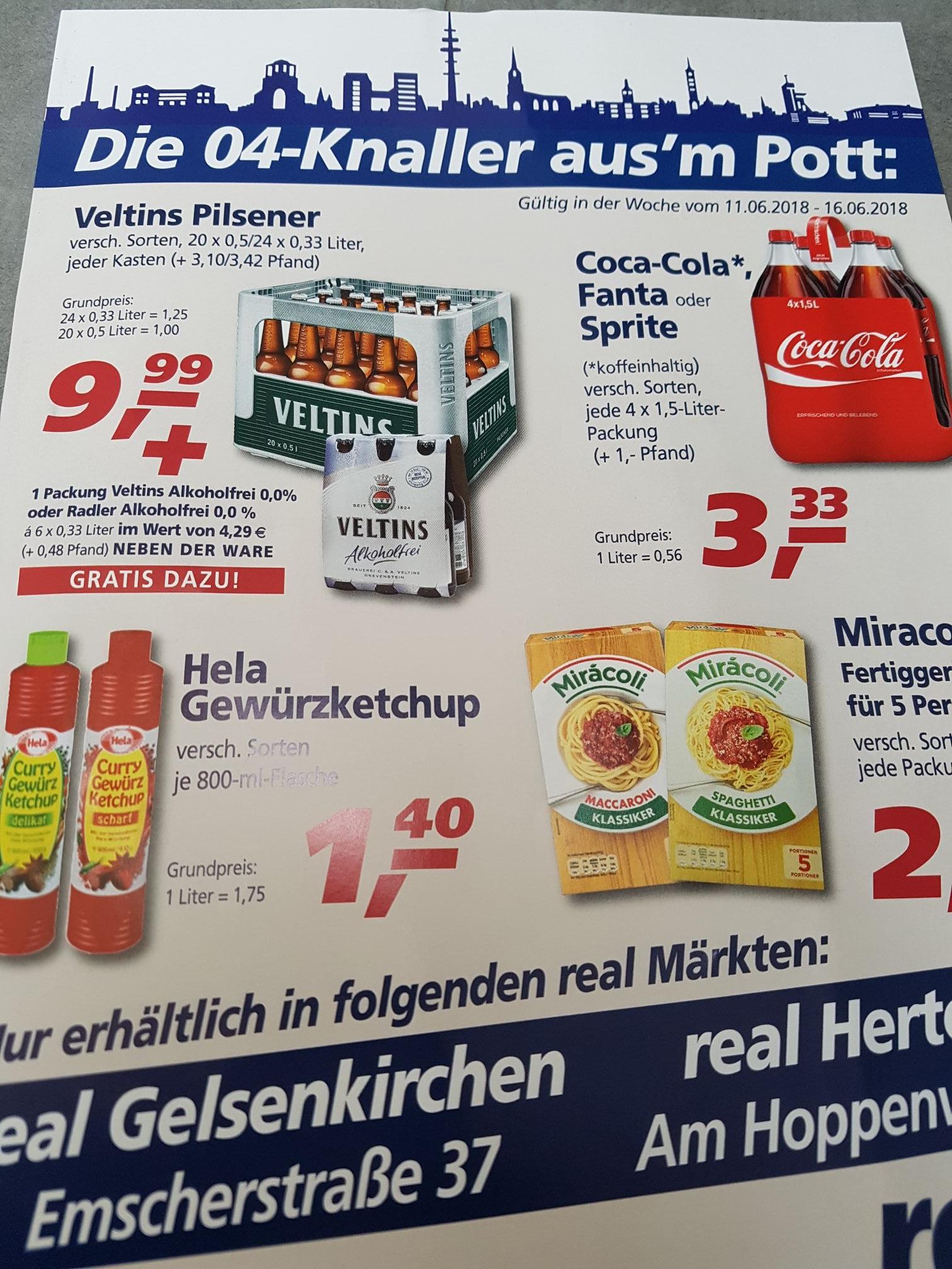 Veltins 20×0,5 oder 24x0,33 inkl Sixpack veltins alkoholfrei / Radler bei Real in Herten und Gelsenkirchen