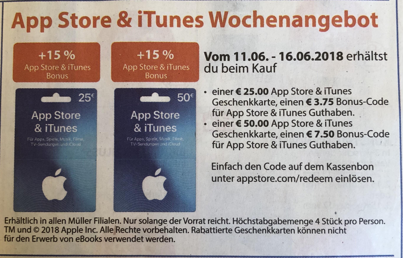 15% Extra Guthaben auf Itunes Karten bei Müller