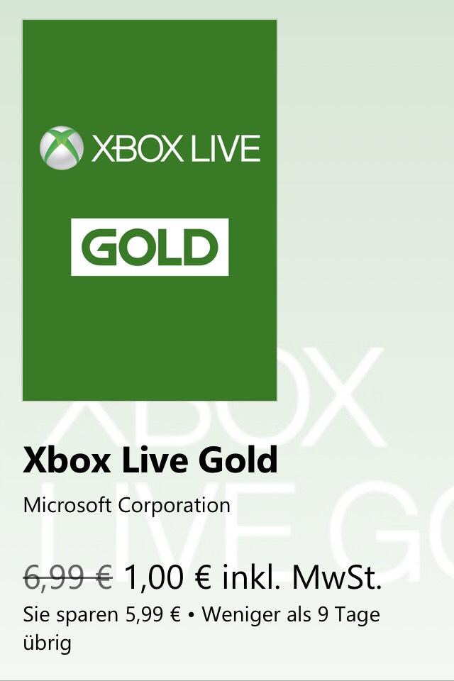 Xbox Live Gold 1 Monat für 1,00 € (statt 5,99 €) @ microsoft.com