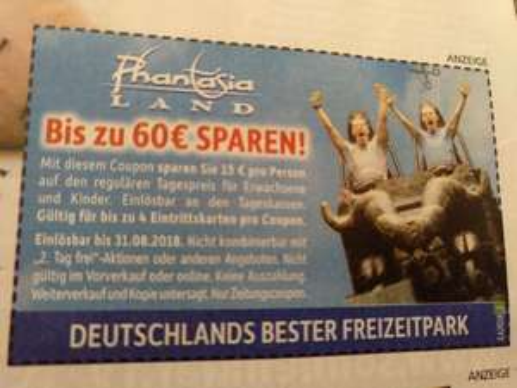 """Phantasialand bis zu 60€sparen mit Coupon bei """"Einkaufaktuell"""" (Lokal Moers und Umkreis)"""