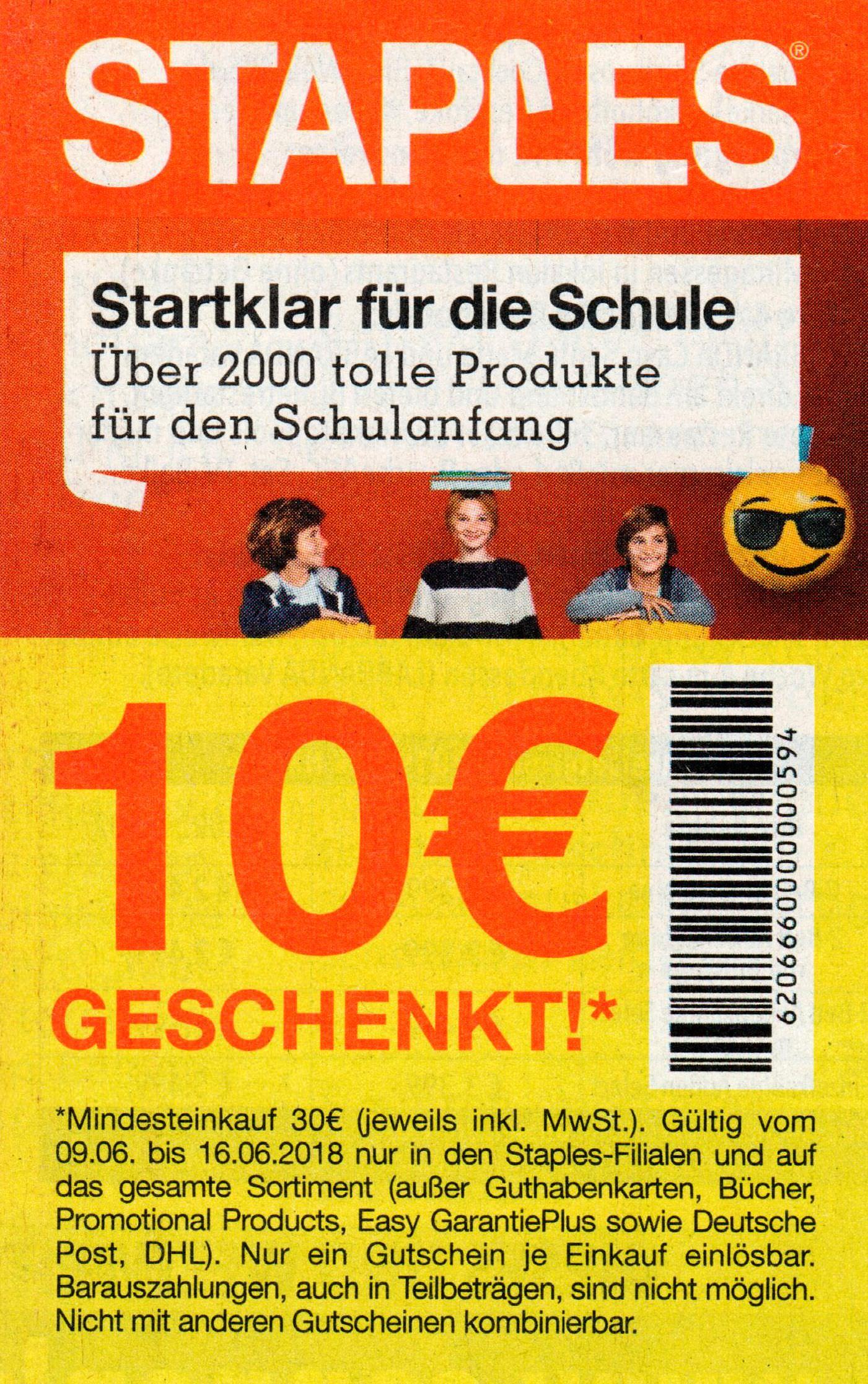 10€ Staples Rabatt Coupon ab 30€ bis 16.06.2018