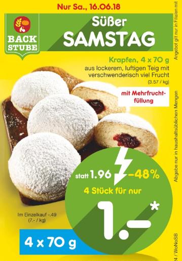 [Netto MD] Samstag 16.06.: 4x Kreppel/Berliner/Krapfen für nur 1,00€ mit Frucht