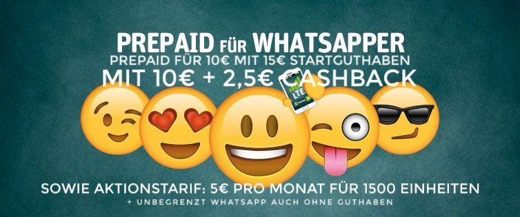 GEHT WEITER: [Shoop.de] WhatsApp SIM eff. mit Gewinn, 15€ Guthaben on top + Aktion: 2000 Einheiten 10€ mtl. + unbegrenzt WhatsApp ohne Guthaben