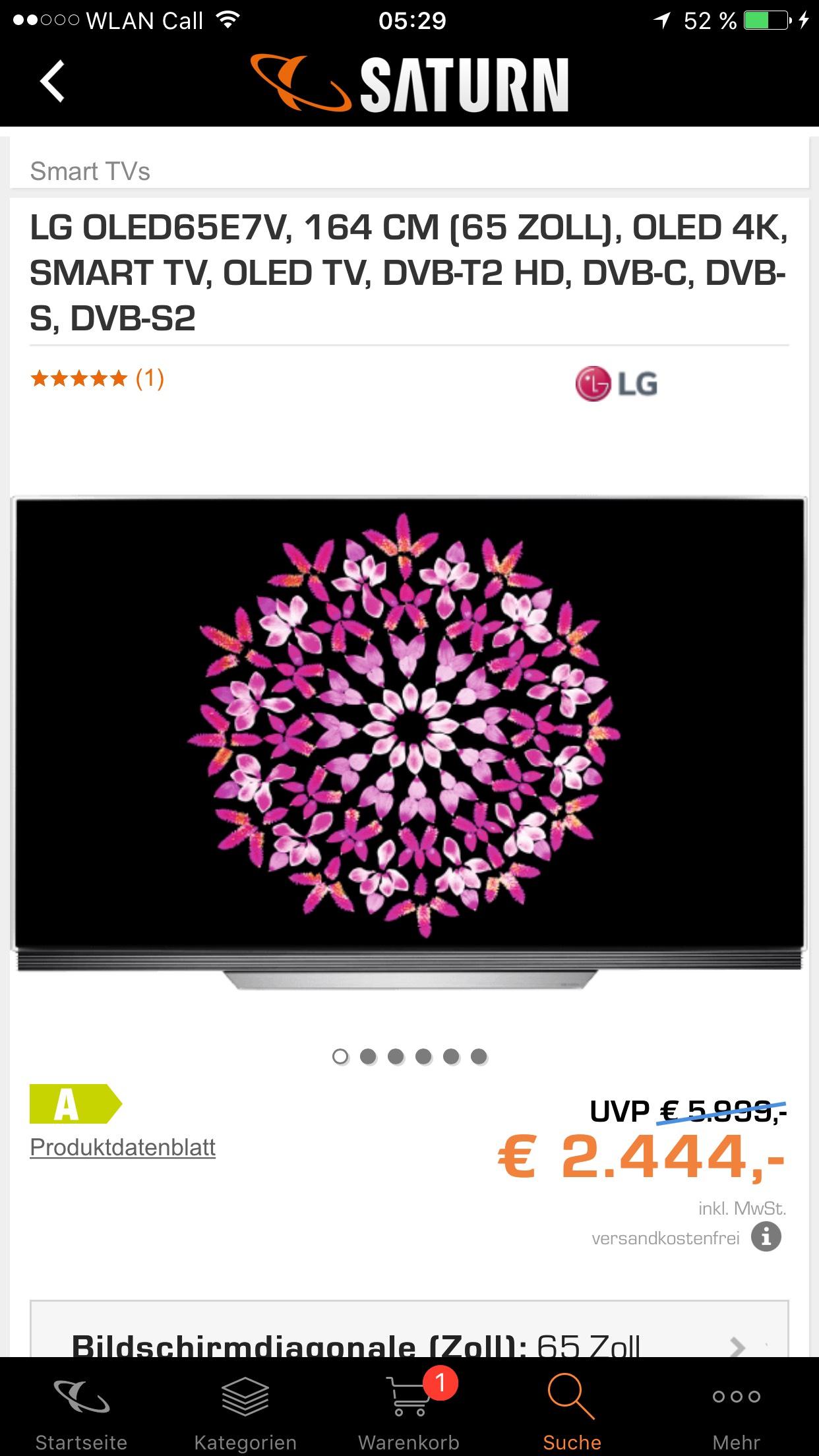 LG OLED65E7V, 164 CM (65 ZOLL), OLED 4K, SMART TV, OLED TV