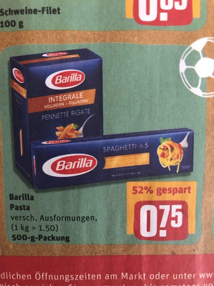 REWE ab Montag: Barilla (500gr.) - auch Integrale für 0,75€. Bis zu 61% gespart!