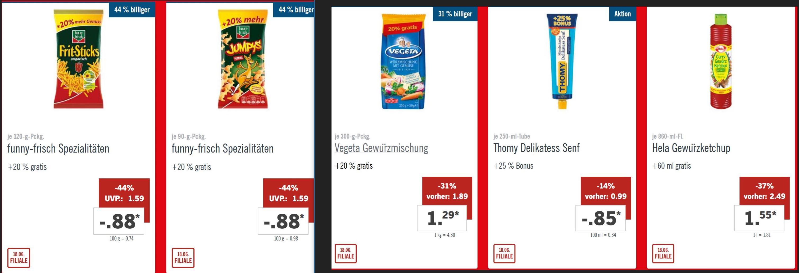 Vegeta Gewürzmischung + 20%, Hela Gewürzketchup + 60ml 860 ml für 1,55  €, Thomy Senf + 20% (250 ml) für 0,85 €, FF Sticks oder Jumpys + 20% für 0,88 €