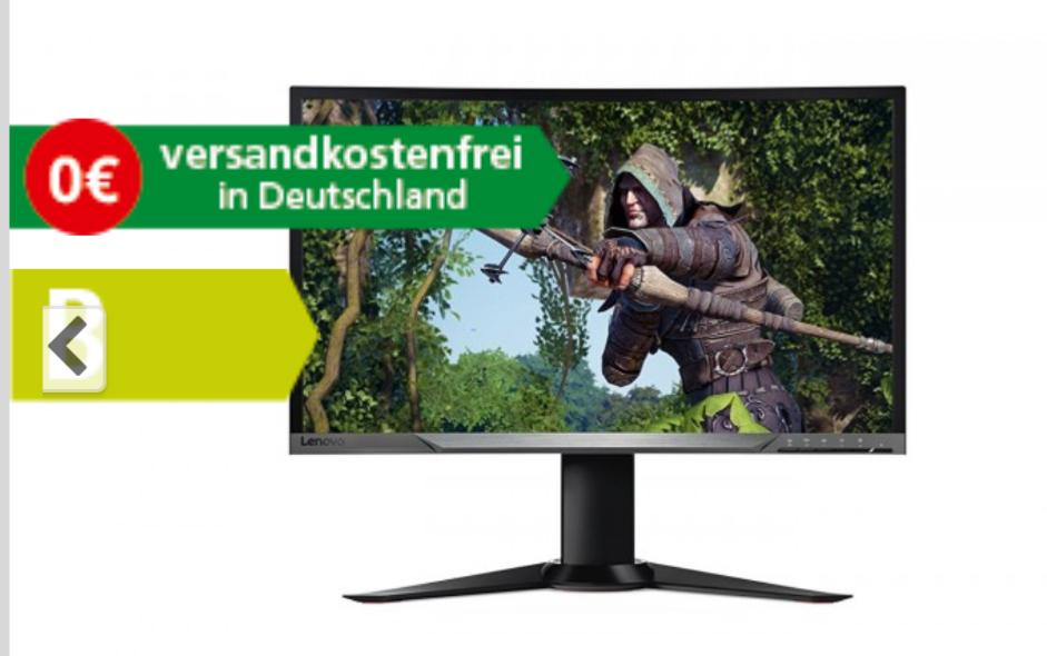Lenovo Y27F 68,58 cm (27 Zoll) Monitor (Full HD matt Curved, HDMI 1.4, DisplayPort 1.2, 4 ms Reaktionszeit, Free-Sync, 144 Hz, neigbar, höhenverstellbar, drehbar)[Comtech]