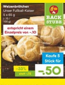 Netto, 5 Kaiserbrötchen für 0,50€