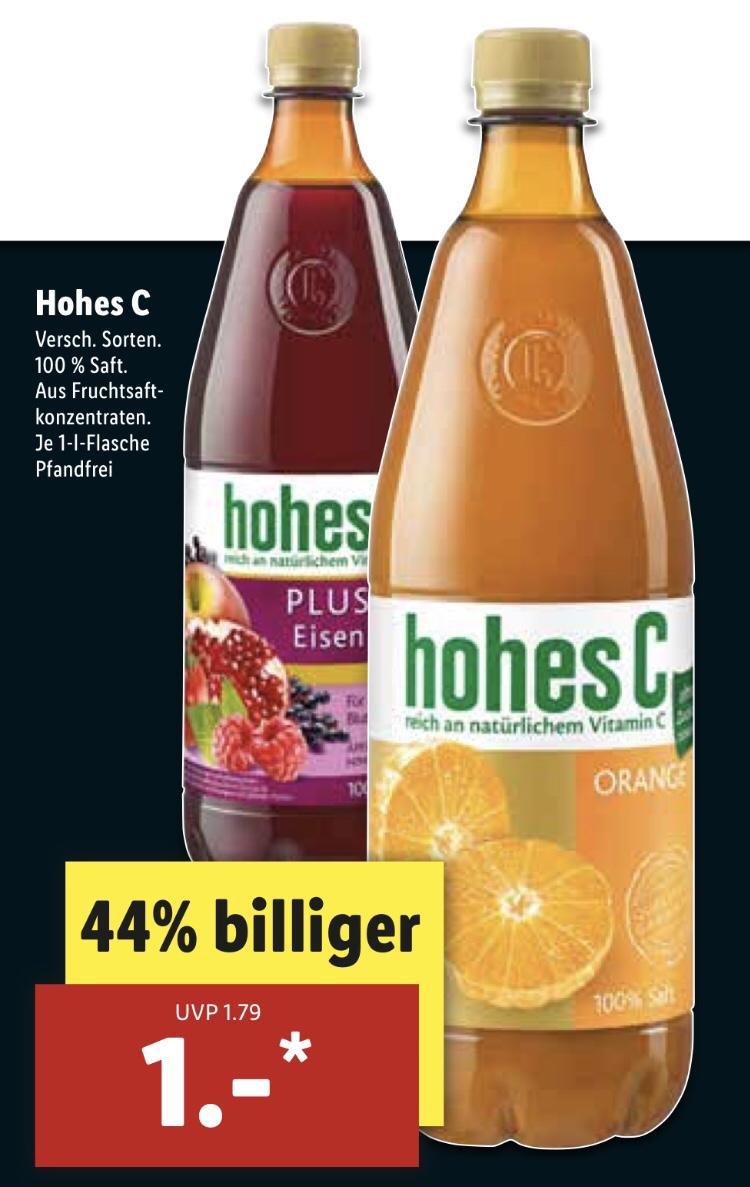 [Lidl] Hohes C 100% Saft 1 Liter für 1€