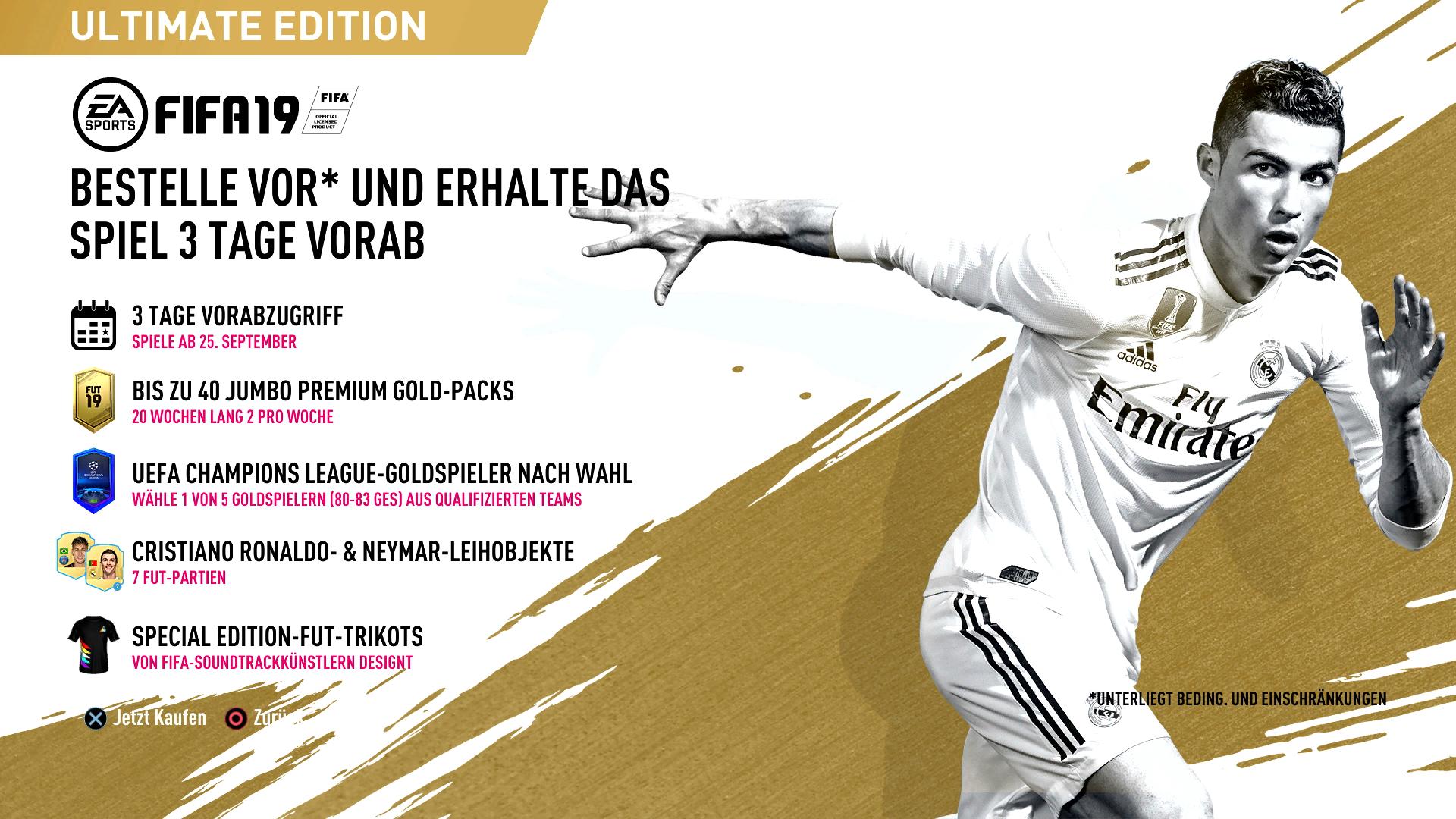 FIFA 19 ULTIMATE EDITION PS4 für 74,47€ inkl. Gebühren