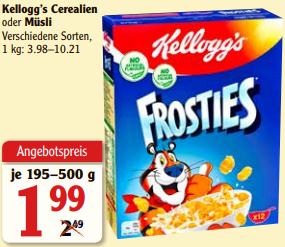 [Globus] Kellogg's Smacks / Frosties / Froot Loops 375g für 1,49€ (Angebot+Coupon) [Maintal/Rüsselsheim vll. weitere]