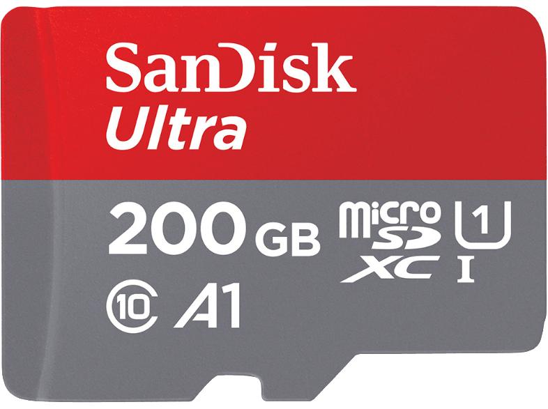 SanDisk Ultra 200GB microSDXC Speicherkarte + Adapter bis zu 100 MB/Sek, Class 10, U1, A1
