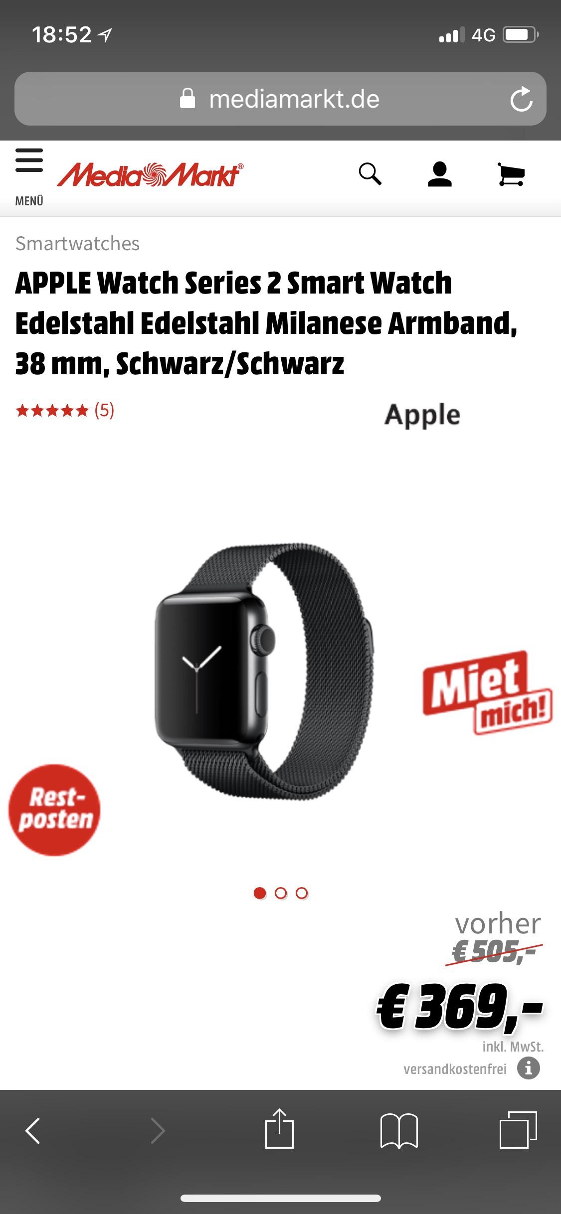 Apple Watch Series 2 Edelstahl Milanese Loop