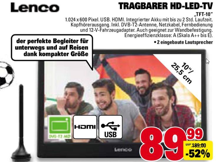 Tragbarer Fernseher mit DVB-T2 inkl. Antenne (10 Zoll, 1.024 x 600 Pixel) [Marktkauf] [ab 11.06.]