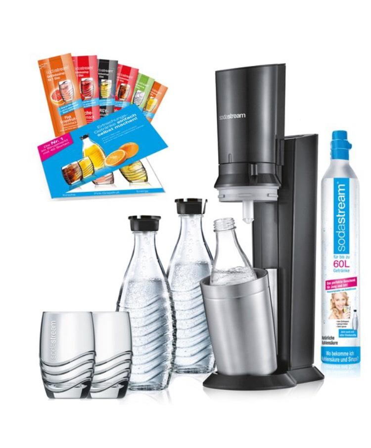SodaStream Crystal inkl. 2 Karaffen, 2 Gläser, 1 Zylinder und 6 Sirupproben