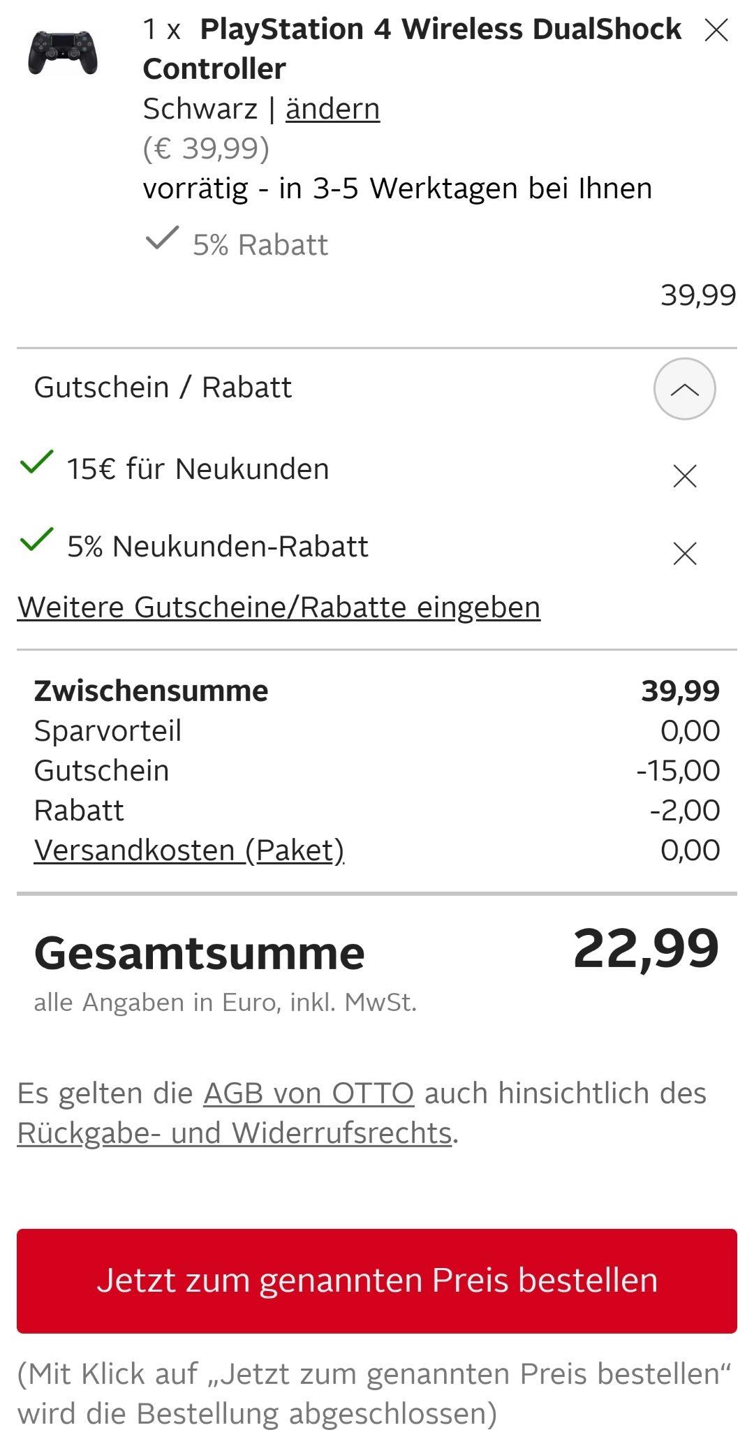 [OTTO] Sony PlayStation Dualshock 4 Controller für nur 22,99€