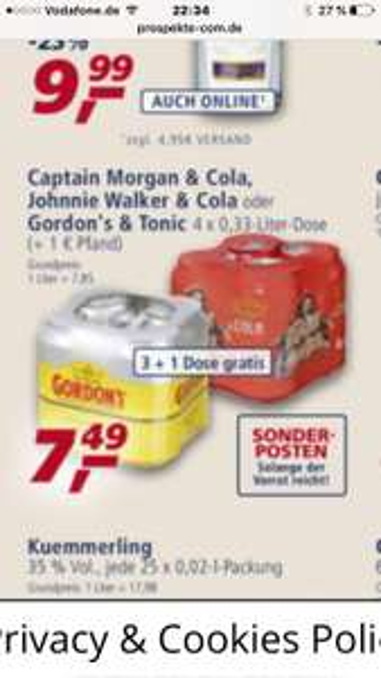 Captain Morgan & Gordons Tonic bei Aldi Nord am 11.06.