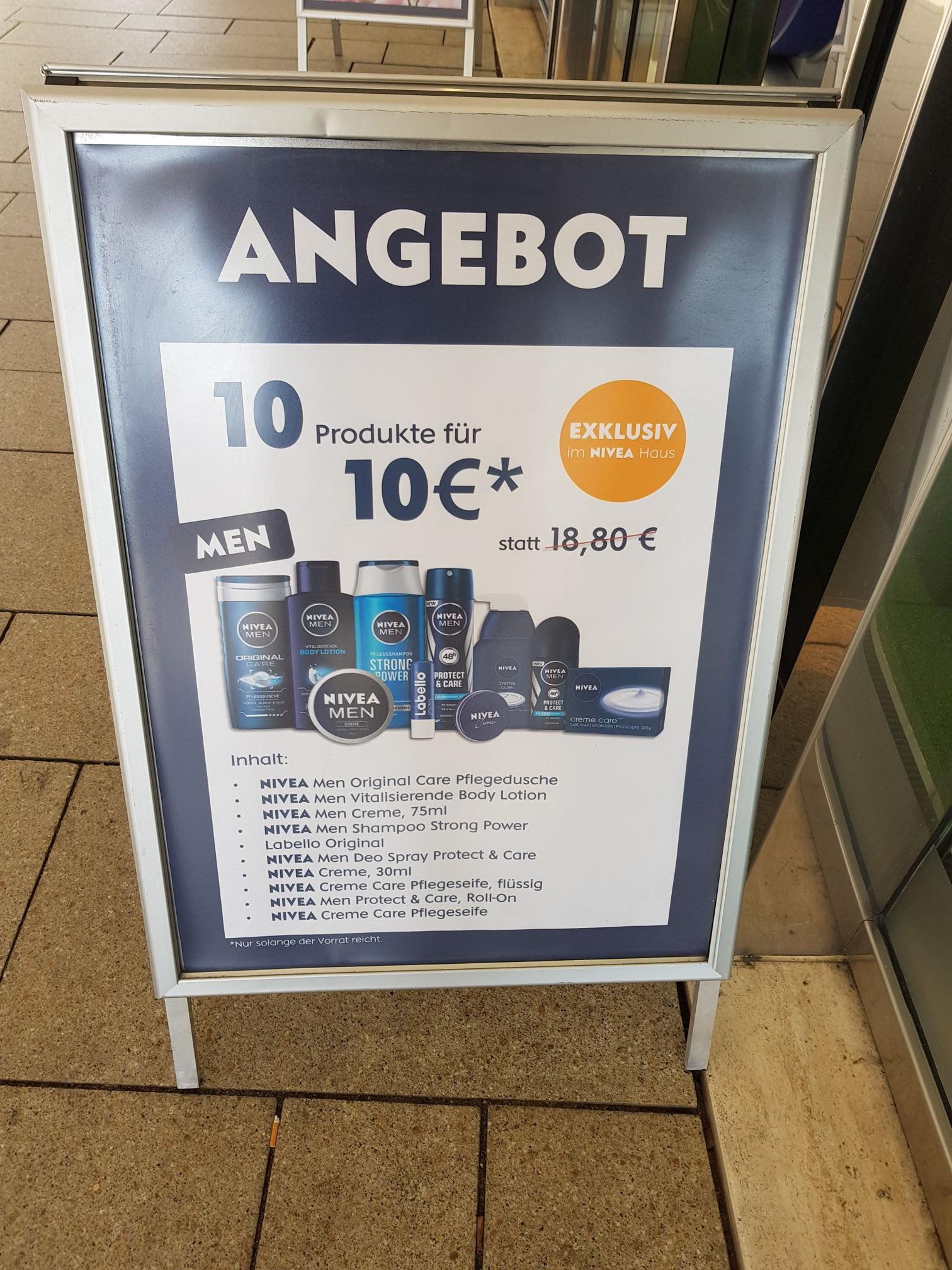 NIVEA Men Pflegeset // 10 Produkte für 10€ // auch für Frauen [NIVEA Haus Hamburg]