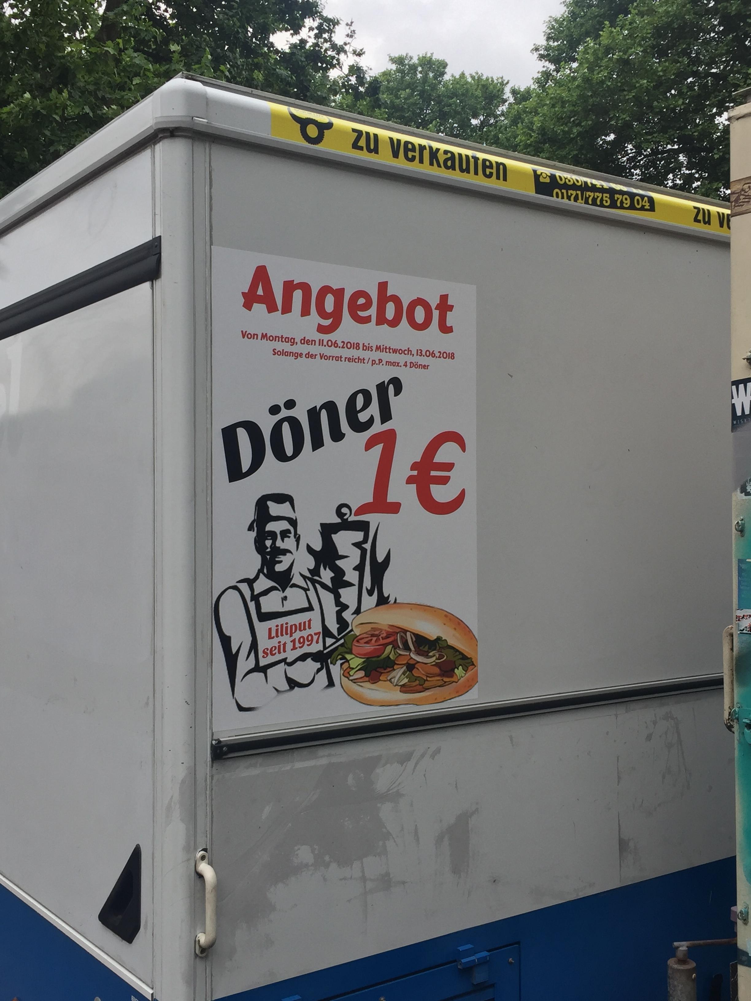Döner für 1€ [LOKAL - S Treptower Park, Berlin]