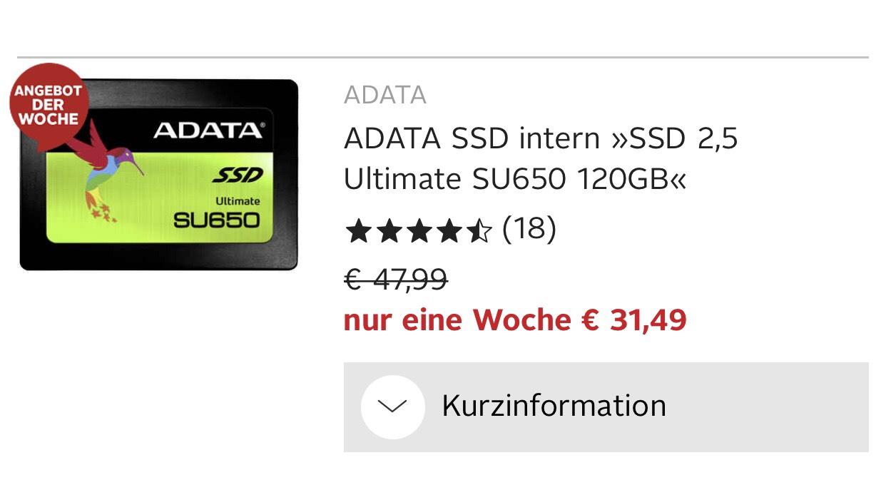 ADATA SSD Festplatte intern »SSD 2,5 Ultimate SU650 120GB«als NEUKUNDE