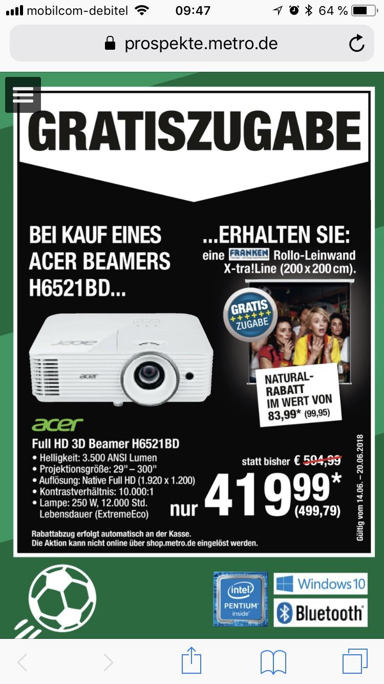 [Lokal? Metro (Dortmund)] Acer H6521BD Full HD Beamer + Leinwand gratis
