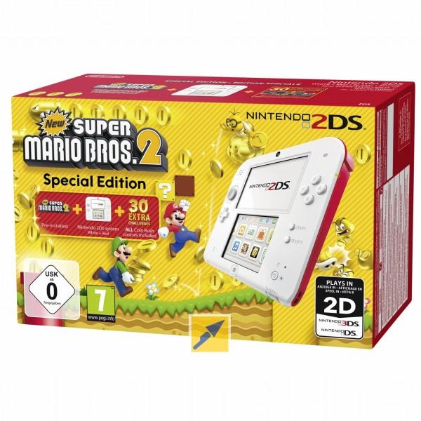 Nintendo 2DS (Weiß/Rot & Schwarz/Blau) + New Super Mario Bros. 2 (Special Edition) für je 67,17€ (Technikdirekt Masterpass)