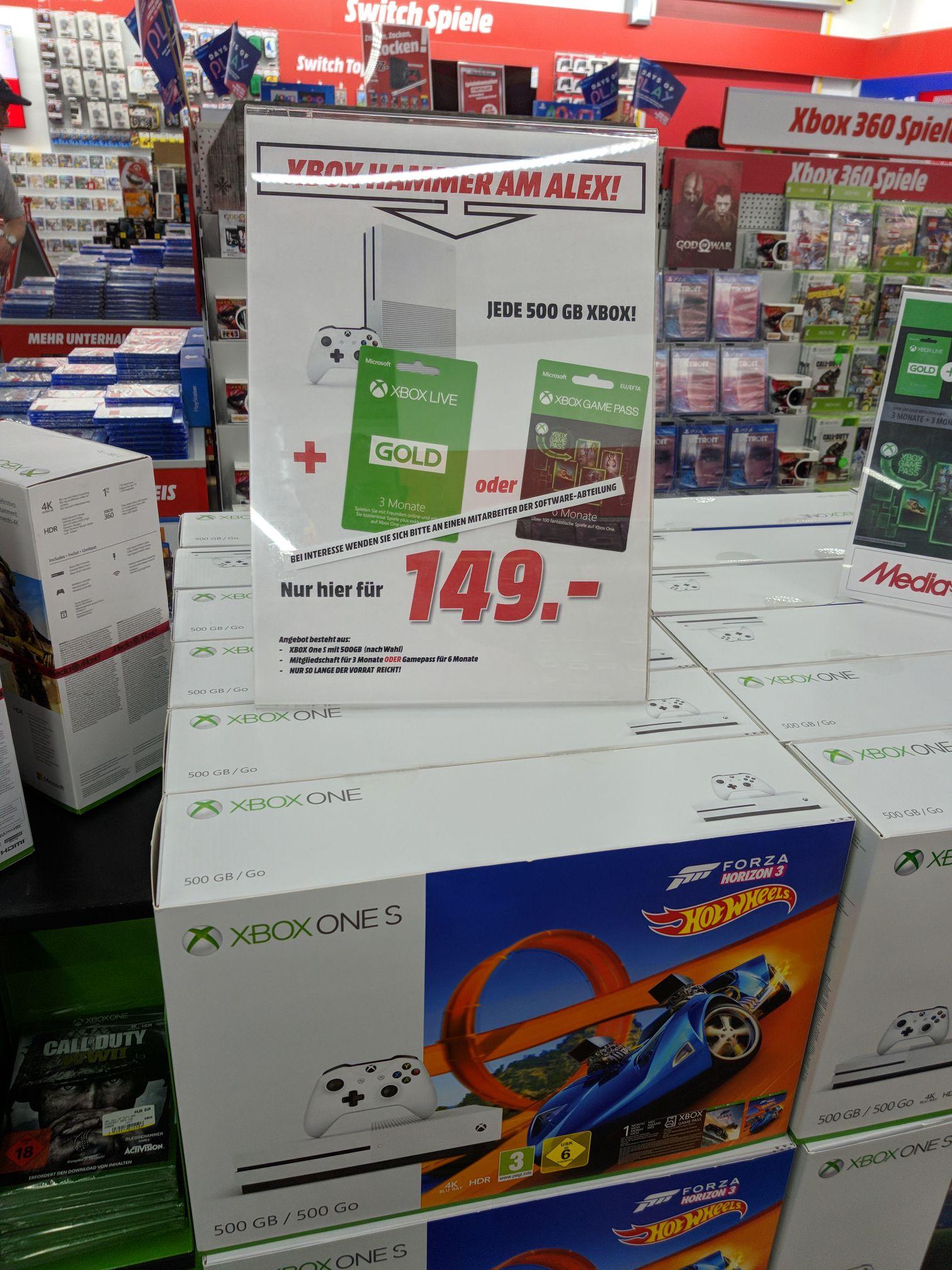 Xbox one s + 3 Monate gold oder 6 Monate gamepass + Spiel Berlin Alexa Media Markt