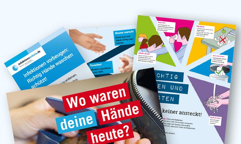 Aufkleber, Poster, Schriften - Infektionsschutz & richtig Hände waschen kostenlos bestellen !
