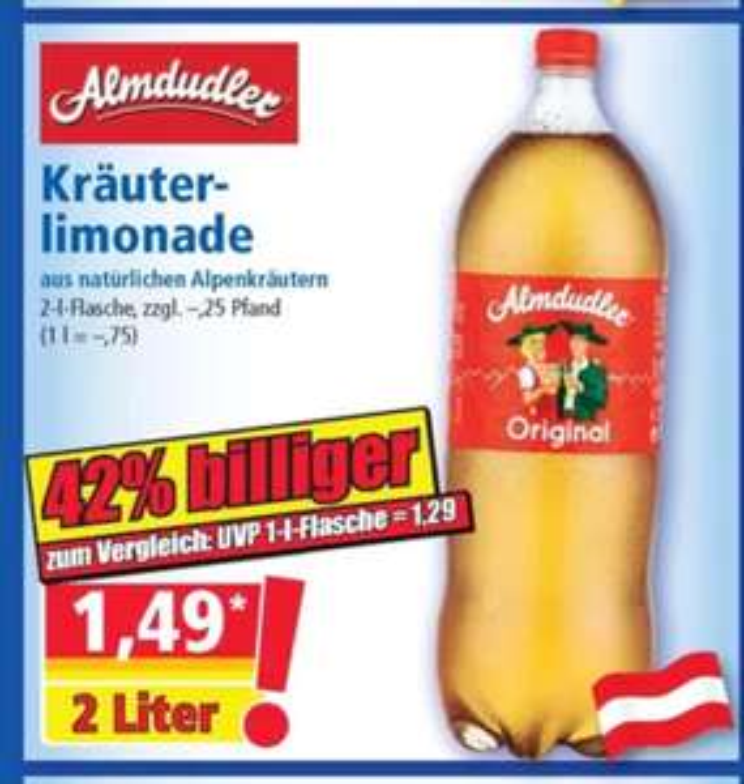 Almdudler Kräuterlimonade 2l für 1,49 bei [Norma ab 18.06]