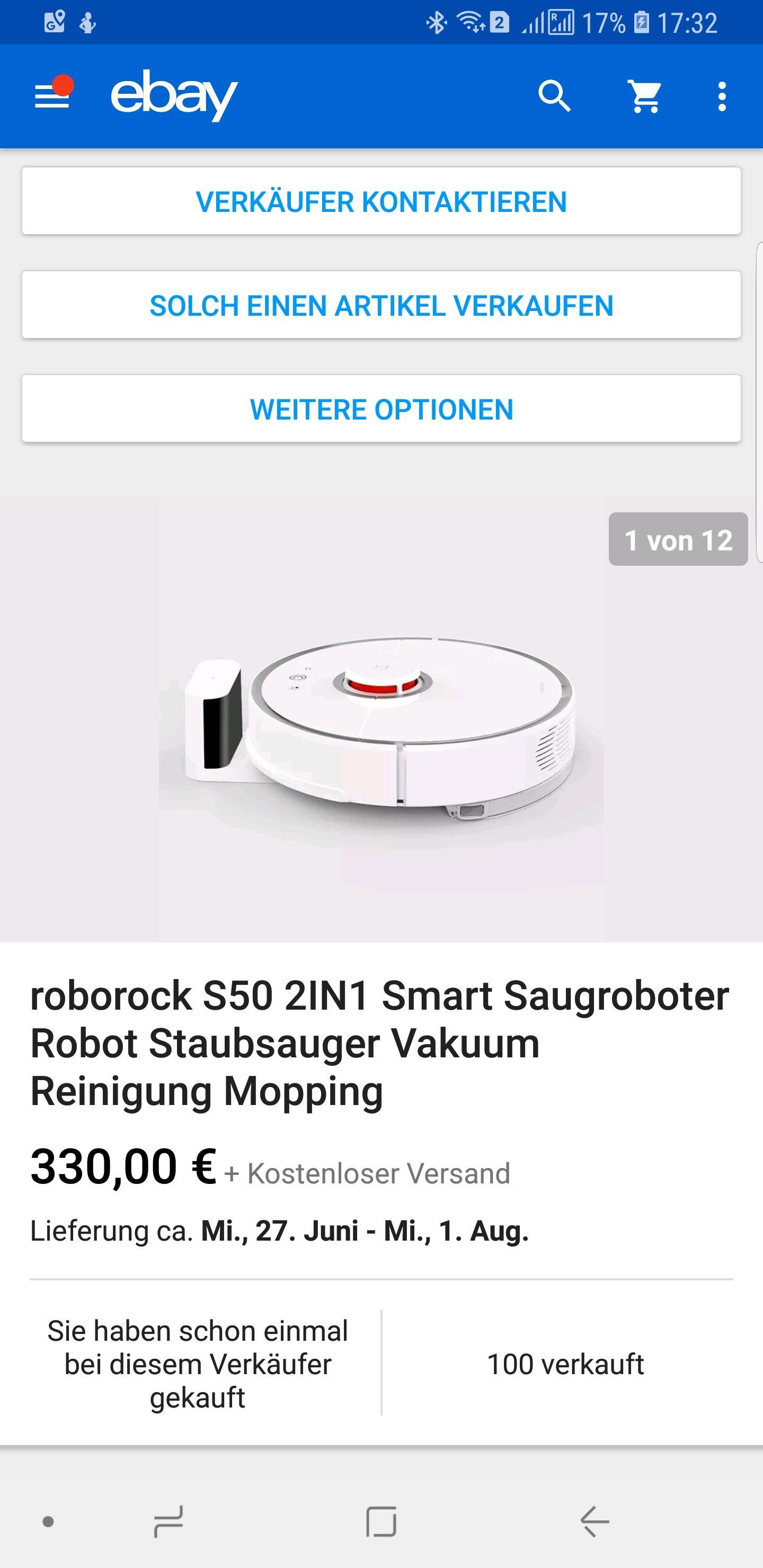 Xiaomi bzw. Roborock S50 Versand aus China/Hongkong über eBay