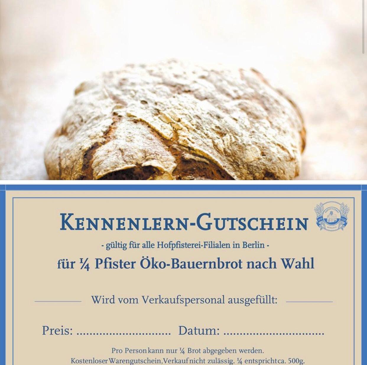 [Berlin] *Kennenlerngutschein* Gratis Brot von der Hofpfisterei