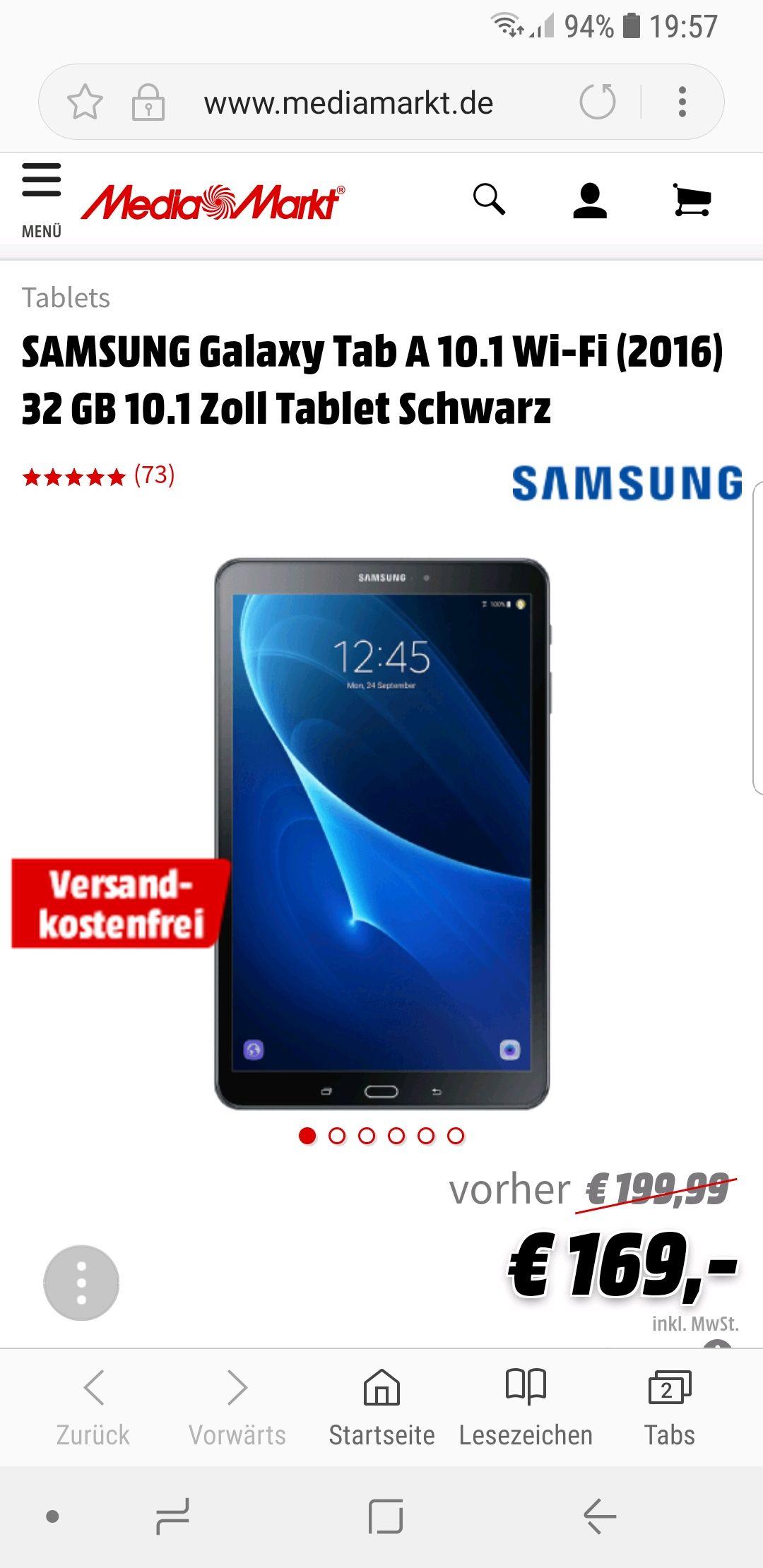 SAMSUNG Galaxy Tab A 10.1 Wi-Fi (2016) 32 GB 10.1 Zoll Tablet Schwarz