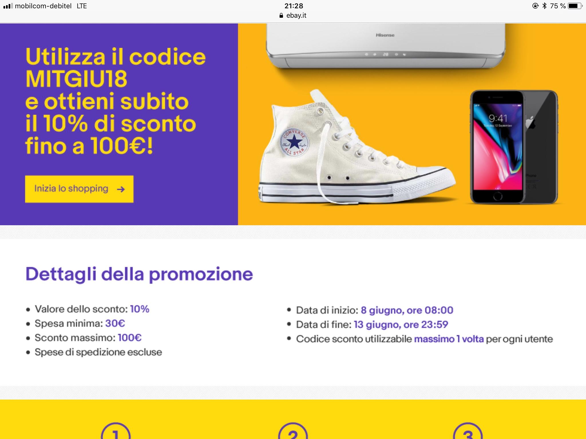 Ebay Italien 10% auf fast Alles. Maximal 100€. Umzug