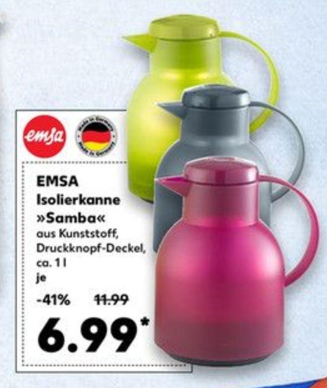 """[Kaufland] Emsa """"Samba"""" Isolierkanne, 1 Liter, Quick Press Verschluss, 100% dicht, verschiedene Farben, offline"""