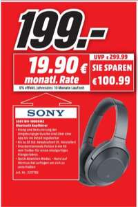 [Regional Mediamarkt Essen] Sony Kabelloser High-Resolution WH-1000XM2 Kopfhörer (Noise Cancelling, Bluetooth, NFC, Headphones Connect App, bis zu 30 Stunden Akkulaufzeit) schwarz für 199,-€