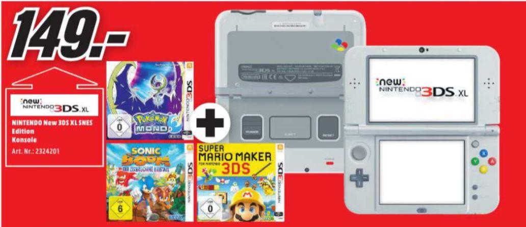 [Regional Mediamarkt Mülheim ab 13.06] Nintendo New 3DS XL SNES Edition + Pokémon: Mond (3DS) + Sonic Boom: Der Zerbrochene Kristall (3DS) +  Super Mario Maker 3DS für 149,-€