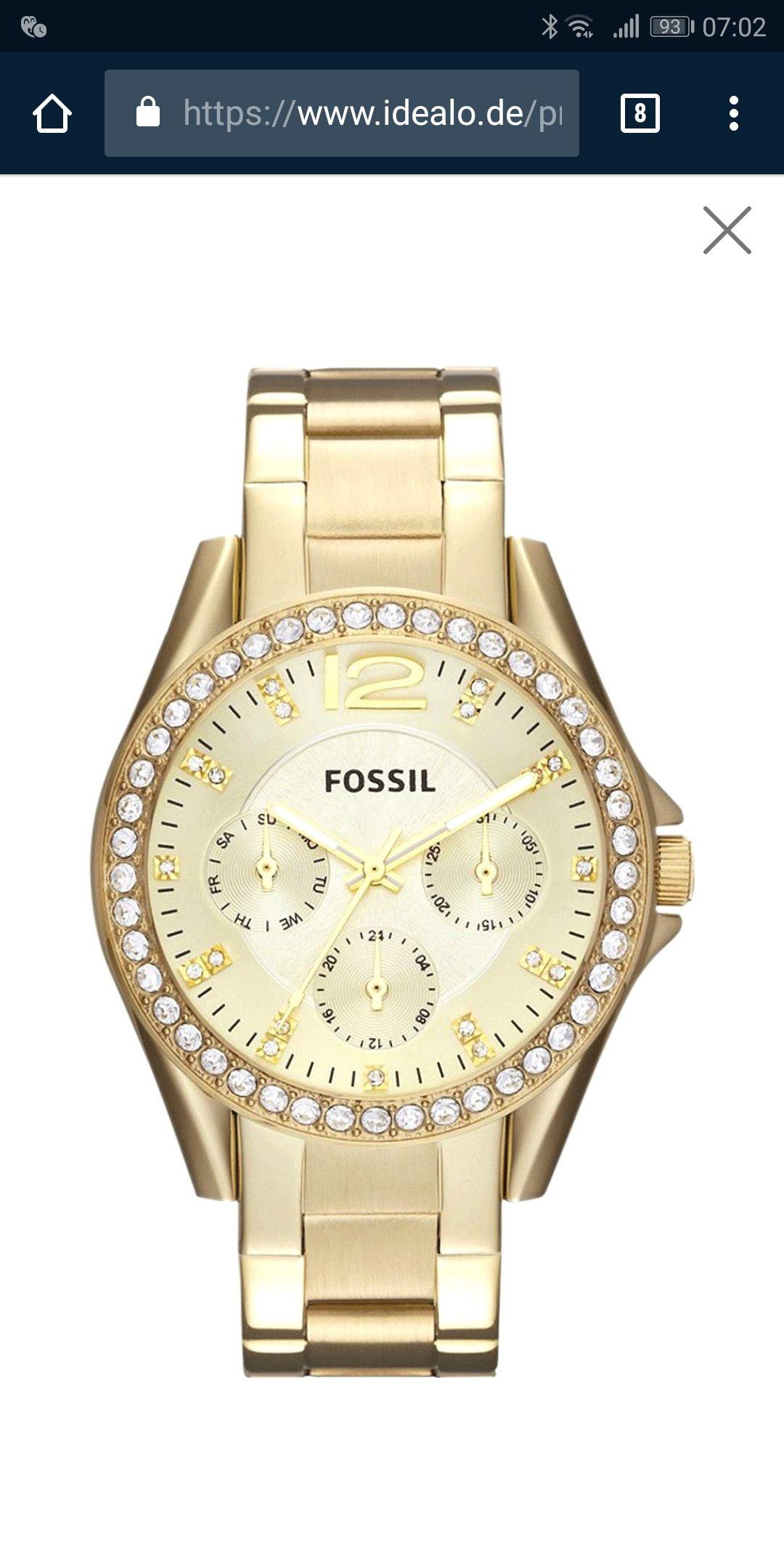 Fossil Damen-Armbanduhr ES3203 Edelstahl Analog Quarz Goldfarbend Zirkonia Riley (Amazon Prime)