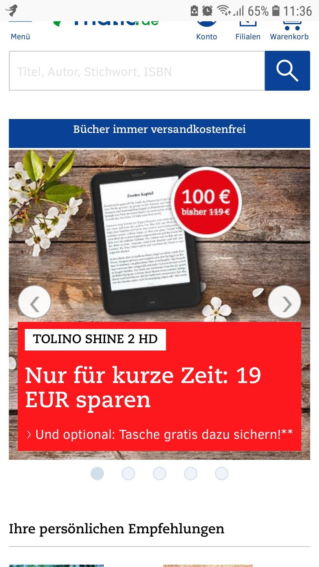 Tolino Shine 2 HD + Kostenlose Tolino-Tasche *Kostenlose Lieferung*