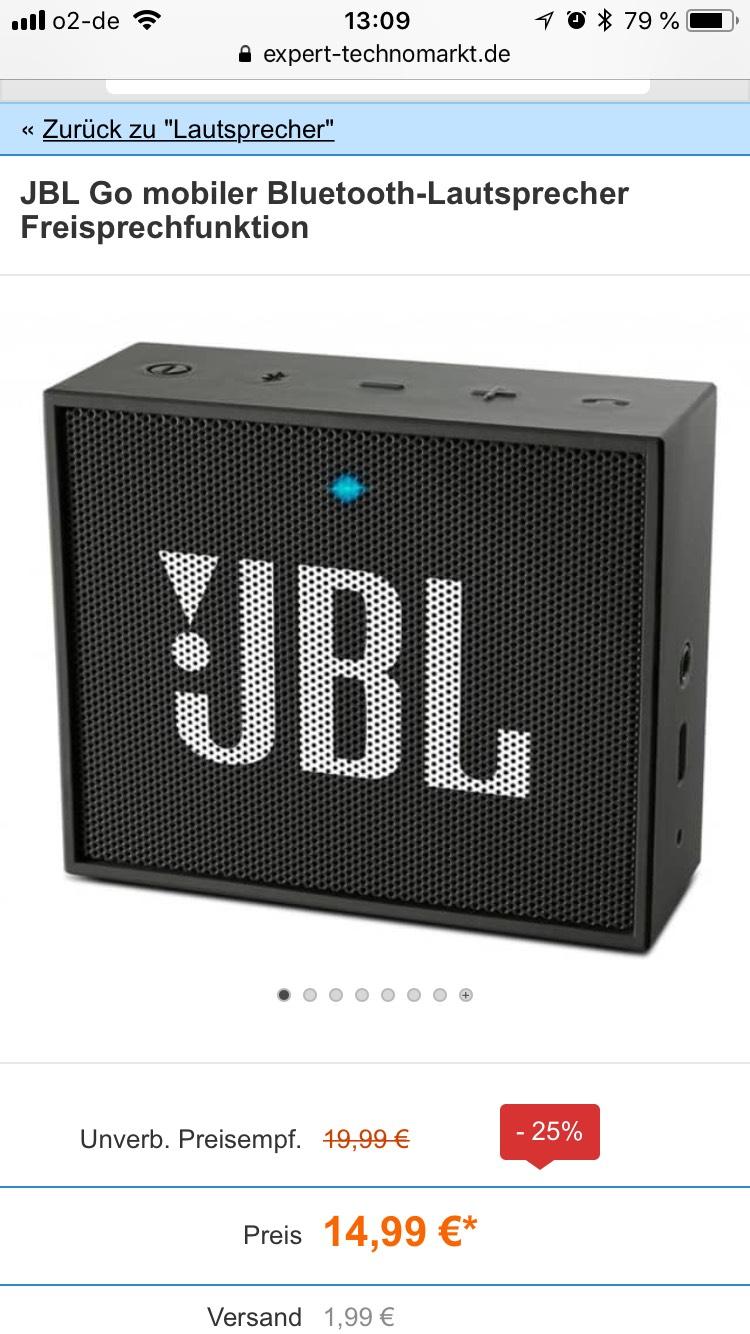 JBL Go Bluetooth Lautsprecher (schwarz, 3,5mm AUX-Eingang) in verschiedenen Farben