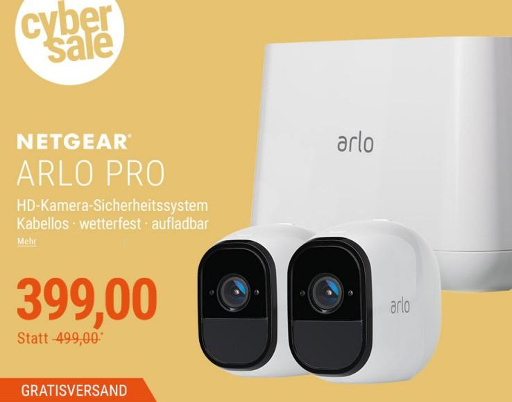 Netgear Arlo Pro Smart VMS4230  - wiederaufladbare Smart Home 2 HD-Überwachungs Kamera-Sicherheitssystem und Arlo Pro Akku Ladestation und Zusatz Akku bei Cyberport