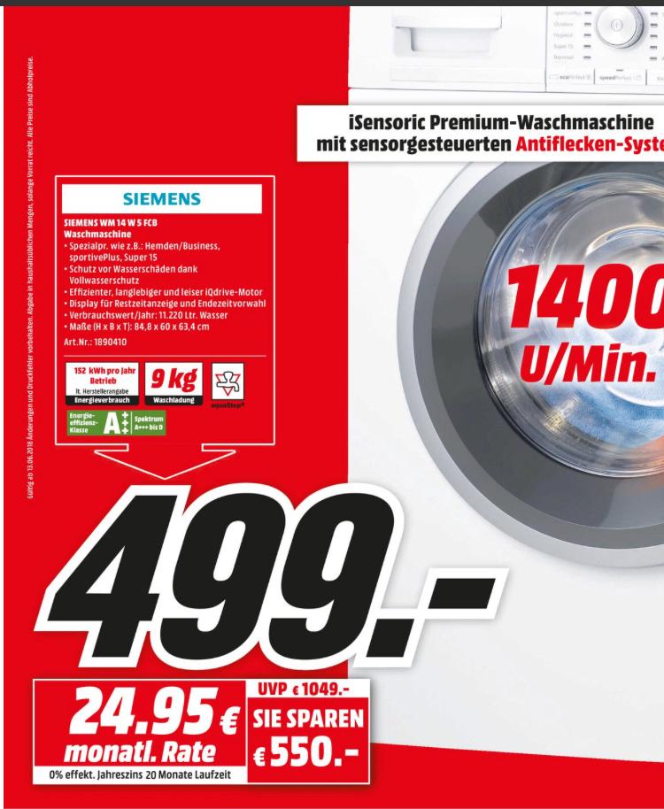 Siemens WM14W5FCB IQ700, 9 KG Waschmaschine, Frontlader, 1361 U/MIN., A+++ [Lokal Dortmund Media Markt]
