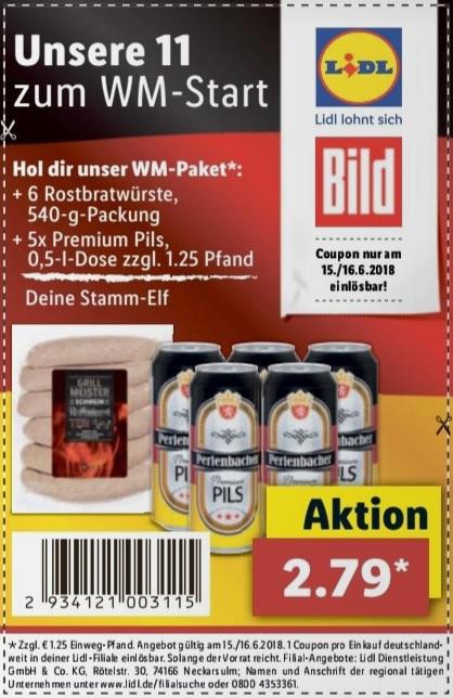 6 Grillmeister Schwein Rostbratwürste  + 5 Dosen 0,5l Perlenbacher Premium Pils für 2,79€ exkl. Pfand (e-Paper Ausdrucke nicht ausgeschlossen)