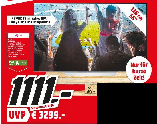 """[Regional Mediamarkt Frankfurt/Dietzenbach/Aschaffenburg/Egelsbach/Kassel/Gründau-Lieblos] LG OLED55C7D Dual Trible Tuner 4K Active HDR 140 cm (55"""") 4K / UHD HDR OLED Smart TV DVB-T2/C/S2 PVR für 1111,-€"""