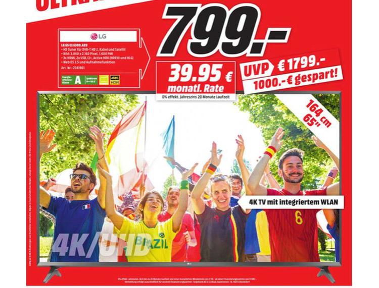 LG 65UJ6309 (65 ZOLL), UHD 4K, Smart TV Fernseher [Lokal Media Markt Bochum und Castrop Rauxel]